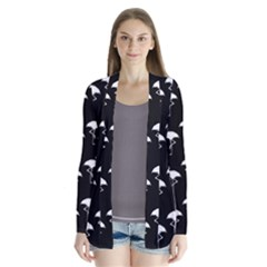 Flamingo Pattern White On Black  Drape Collar Cardigan