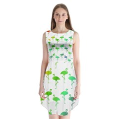 Flamingo Pattern Rainbow  Sleeveless Chiffon Dress