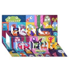 Monster Quilt Best Friends 3d Greeting Card (8x4)