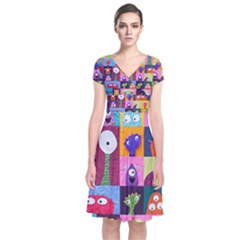 Monster Quilt Short Sleeve Front Wrap Dress