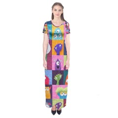 Monster Quilt Short Sleeve Maxi Dress
