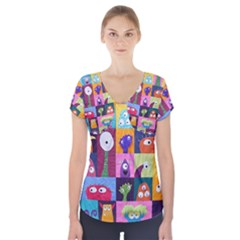 Monster Quilt Short Sleeve Front Detail Top