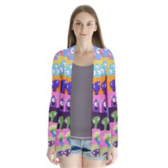 Monster Quilt Drape Collar Cardigan