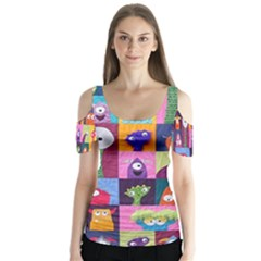 Monster Quilt Butterfly Sleeve Cutout Tee