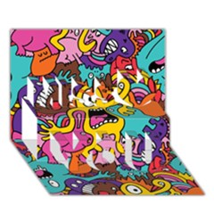 Monsters Pattern Miss You 3D Greeting Card (7x5)