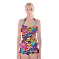 Monsters Pattern Boyleg Halter Swimsuit
