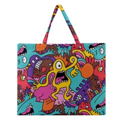 Monsters Pattern Zipper Large Tote Bag
