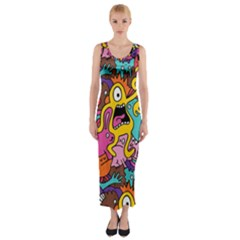 Monsters Pattern Fitted Maxi Dress