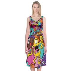 Monsters Pattern Midi Sleeveless Dress