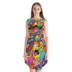 Monsters Pattern Sleeveless Chiffon Dress