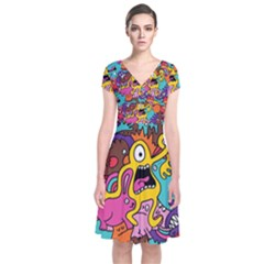 Monsters Pattern Short Sleeve Front Wrap Dress