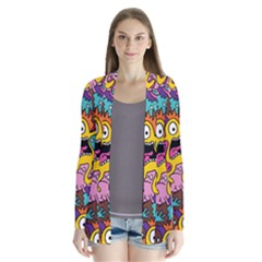 Monsters Pattern Drape Collar Cardigan