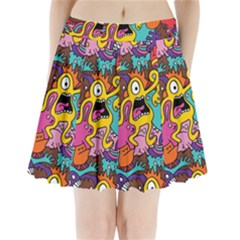 Monsters Pattern Pleated Mini Skirt