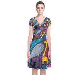 N Pattern Short Sleeve Front Wrap Dress