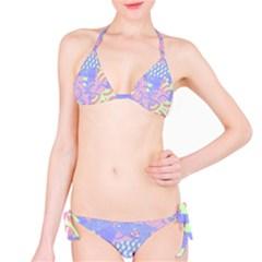 Abstract Geometric Pattern Bright Pastel Bikini Set