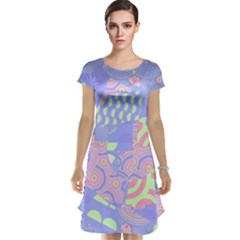 Abstract Geometric Pattern Bright Pastel Cap Sleeve Nightdress