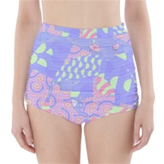 Abstract Geometric Pattern Bright Pastel High-Waisted Bikini Bottoms
