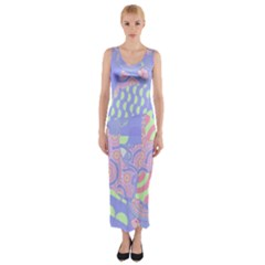 Abstract Geometric Pattern Bright Pastel Fitted Maxi Dress