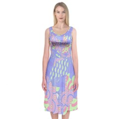 Abstract Geometric Pattern Bright Pastel Midi Sleeveless Dress