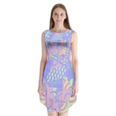 Abstract Geometric Pattern Bright Pastel Sleeveless Chiffon Dress