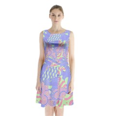Abstract Geometric Pattern Bright Pastel Sleeveless Chiffon Waist Tie Dress