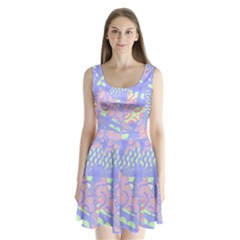 Abstract Geometric Pattern Bright Pastel Split Back Mini Dress