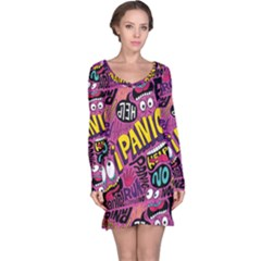 Panic Pattern Long Sleeve Nightdress