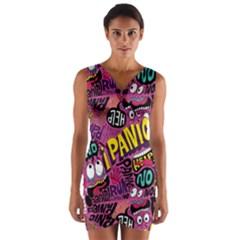 Panic Pattern Wrap Front Bodycon Dress