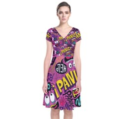 Panic Pattern Short Sleeve Front Wrap Dress