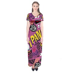 Panic Pattern Short Sleeve Maxi Dress