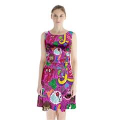 Pattern Monsters Sleeveless Chiffon Waist Tie Dress