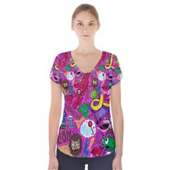 Pattern Monsters Short Sleeve Front Detail Top