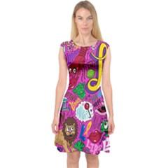 Pattern Monsters Capsleeve Midi Dress