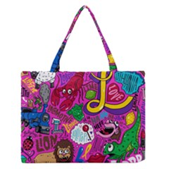Pattern Monsters Medium Zipper Tote Bag