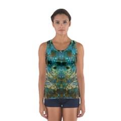 Modern Abstract Art Blue  Women s Sport Tank Top