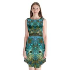 Modern Abstract Art Blue  Sleeveless Chiffon Dress