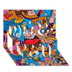 People Face Fun Cartoons Miss You 3d Greeting Card (7x5)