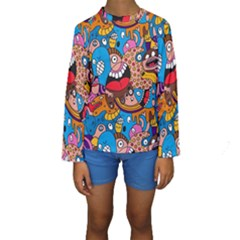 People Face Fun Cartoons Kids  Long Sleeve Swimwear