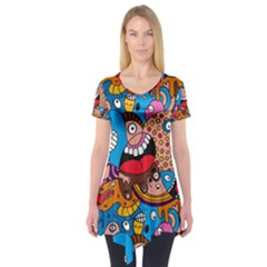 People Face Fun Cartoons Short Sleeve Tunic