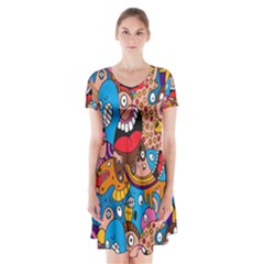People Face Fun Cartoons Short Sleeve V-neck Flare Dress