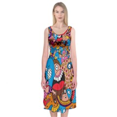 People Face Fun Cartoons Midi Sleeveless Dress