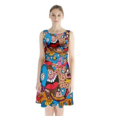 People Face Fun Cartoons Sleeveless Chiffon Waist Tie Dress
