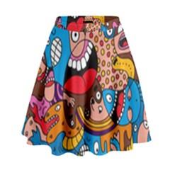 People Face Fun Cartoons High Waist Skirt