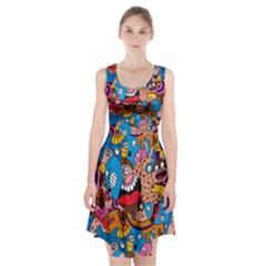 People Face Fun Cartoons Racerback Midi Dress