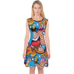 People Face Fun Cartoons Capsleeve Midi Dress