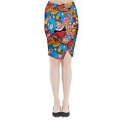 People Face Fun Cartoons Midi Wrap Pencil Skirt