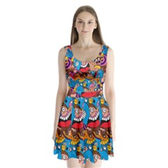 People Face Fun Cartoons Split Back Mini Dress