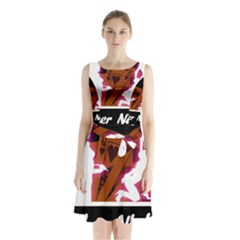 Poker Night Sleeveless Chiffon Waist Tie Dress