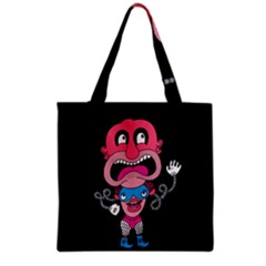 Red Cartoons Face Fun Grocery Tote Bag