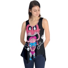 Red Cartoons Face Fun Sleeveless Tunic